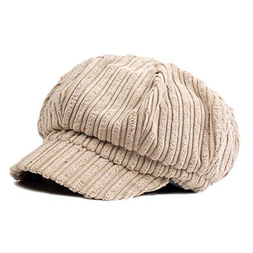 ZLSLZ Womens Corduroy Striped Octagonal Ivy Newsboy Cabbie Gatsby Painter Hats Caps For Women (Corduroy Newsboy)