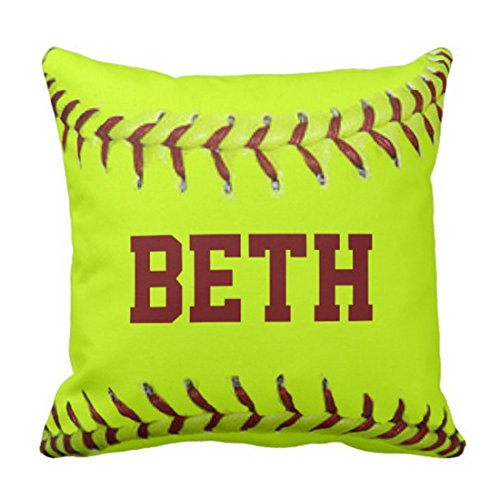 Emvency Throw Pillow Cover Sports Personalized Softball American Mojo Lady Decorative Pillow Case Home Decor Square 18 x 18 Inch ()