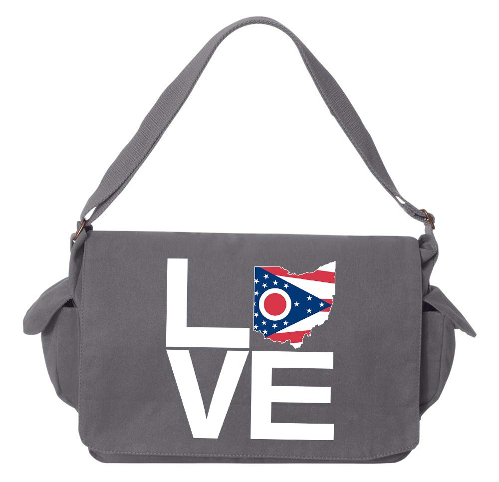 Tenacitee LOVE Ohio Red Brushed Canvas Messenger Bag