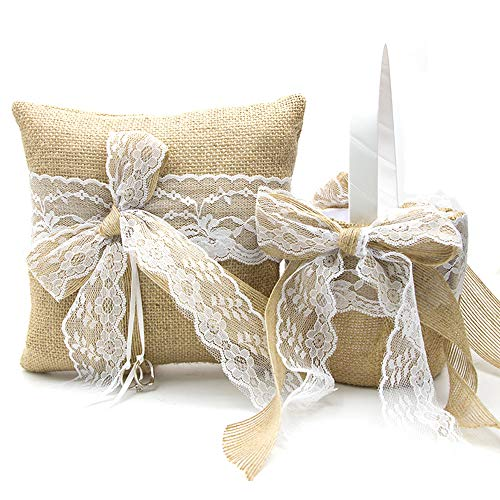 EDOBLUE Flower Girl Basket and Ring Bearer Pillow for Weddings