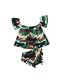 2Pcs Baby Girl Camouflage Off-shoulder Top Shirt+ Tassels Short Pants Outfit Summer Clothes Set