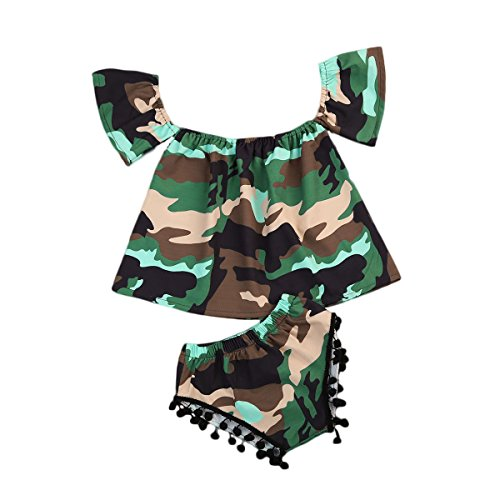 2Pcs Baby Girl Camouflage Short Off-shoulder Top Shirt+ Tassels Short Pants Outfit Summer Clothes Set (6-12 Months, Camouflage)