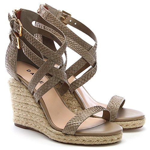 Daniel Lattice Leather Reptile Wedge Palomo Sandals Beige 7x8gqR7
