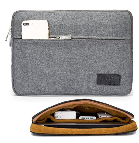 Kinmac Grey 360 Degree Protective 13 inch Water Resistant Laptop Sleeve Bag Case with Multi Pockets for 13 inch to 13.3 inch Laptop