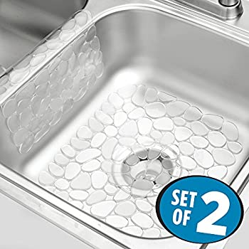 mdesign pebbles kitchen sink protector mat and sink divider protector pack of 2 clear - Kitchen Sink Protector