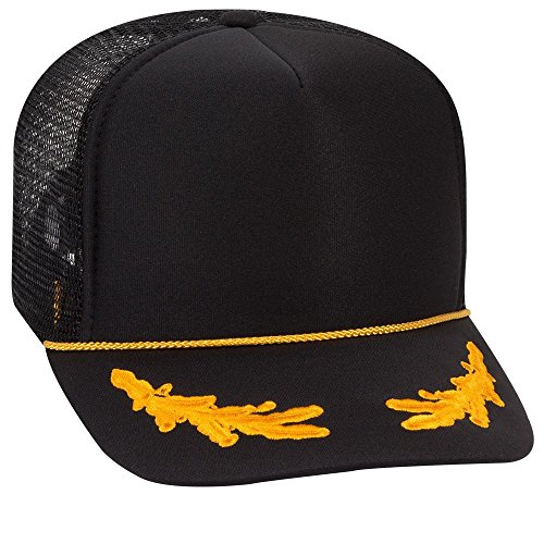 OTTO Polyester Foam Front 5 Panel High Crown Mesh Back Trucker Hat - Blk/Gld ()