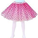 #4: Jasmine Girls 4 Layered Tulle Princess Tutu Skirt with Polkadot/Hearts/Stars