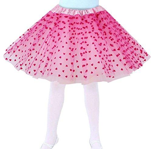 Jasmine Girls 4 Layered Tulle Princess Tutu Skirt with Polkadot/Hearts/Stars