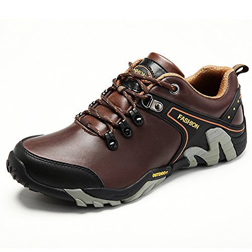 Sport Shoes Hiking Leather and Shoes Walking Dark Brown Outdoor Men's GOMNEAR Trekking qw8EpE