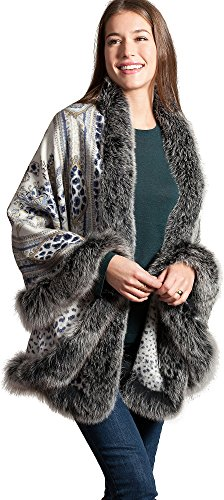 Amy Cashmere-Blend Shawl with Blue Fox Fur Trim by Overland Sheepskin Co