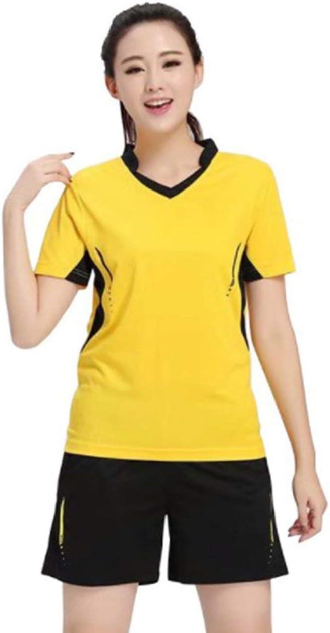 Conjunto de camisa de tenis para mujer Ropa de bádminton Conjunto de tenis Ropa de tenis de mesa Camisa deportiva transpirable + Falda de tenis Traje - Amarillo - 3XL