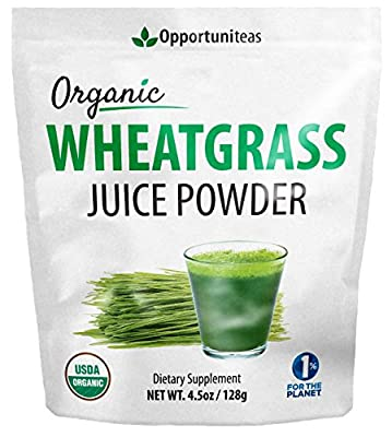 Organic Wheatgrass Juice Powder - Grown In USA, Raw, Vegan, & Non-GMO - 100% Pure Grass Juice Superfood Supplement - No Juicer Required - Amazing Healthy Green Boost For Recipes or Smoothies - 4.5 oz