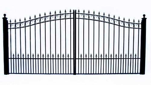 ALEKO DG16PRAD Prague Style Dual Swing Galvanized Steel Driveway Security Gate 16 x 6 Feet Black ()