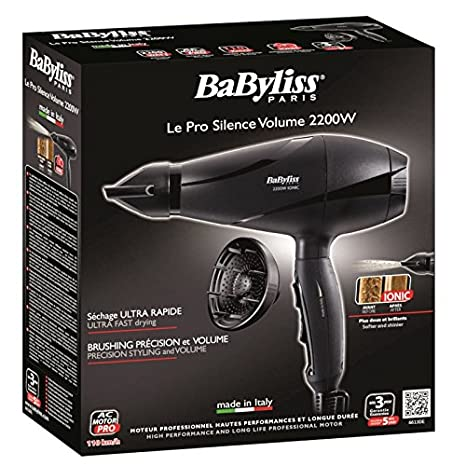 BaByliss 6613DE secador Negro 2200 W - Secador de pelo (30,5556 m/s, Negro, 1,8 m, Italia, 2200 W): Amazon.es: Hogar