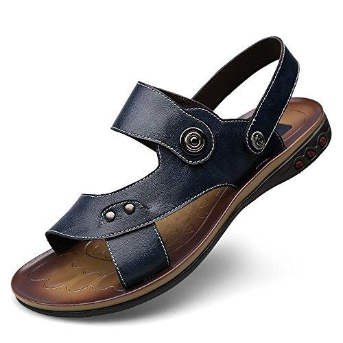 Ajustables Playa Informal Genuino Cuero Abierta Antideslizante y EU de Respaldo para marrónSandals Black Punta 37 Hombres Size Zapatillas Sin Color Negro de Zapatos de MXNET Cuero EvAwaqA