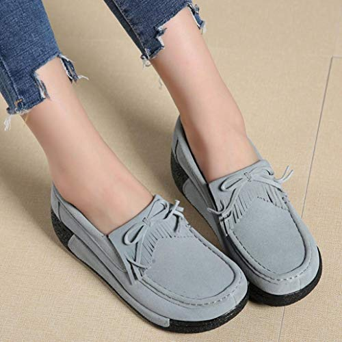 Comfortable Shoes Tassel Flat Fashion Leisure FALAIDUO Round Grey Women Sports Shoes Head Shake Breathable Rq6wa81