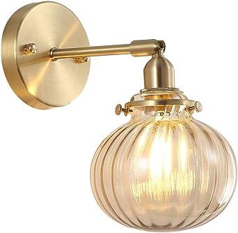 Lámpara de pared de cobre, sala de estar Pasillo Escalera, baño de latón, espejo, lámpara de pared delantera, E27, bola de oro, lámpara decorativa de vidrio A++: Amazon.es: Iluminación