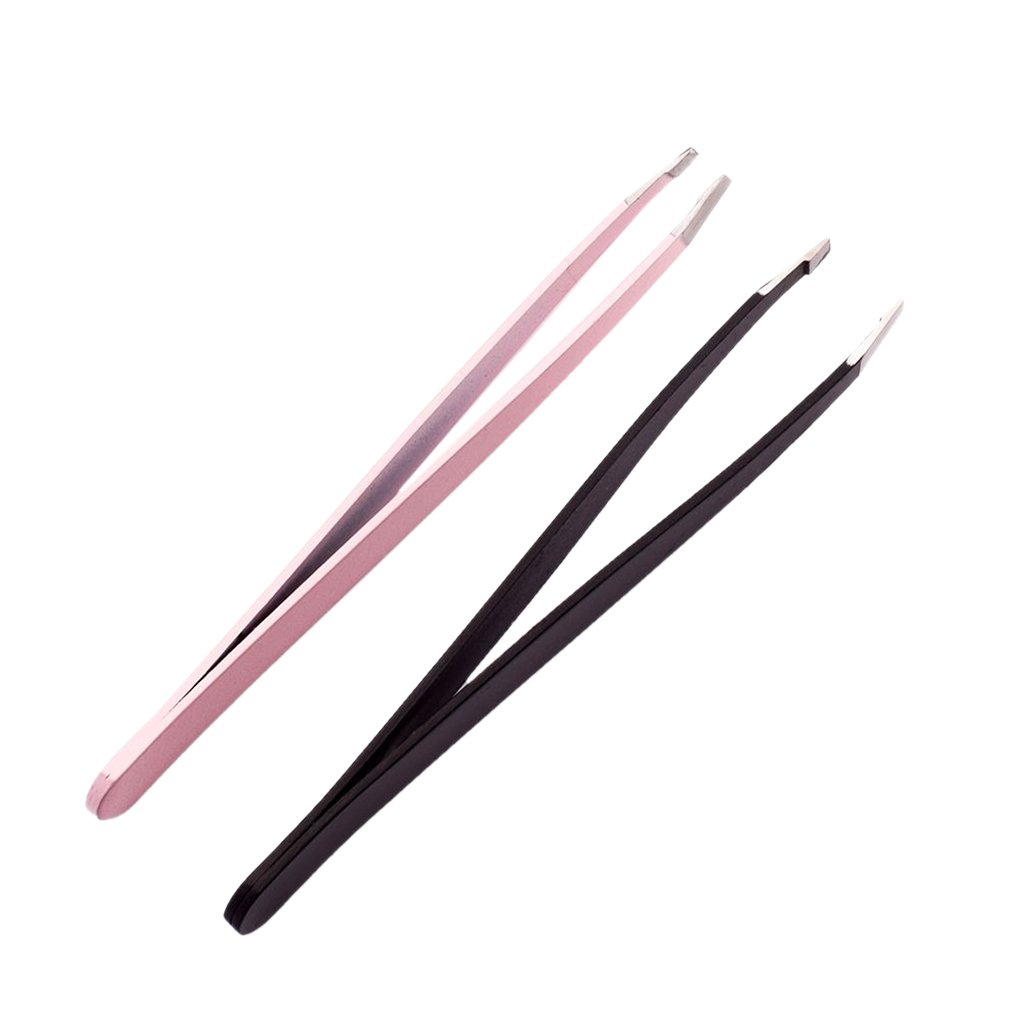 MagiDeal 2 Pieces Professional Eyebrow Tweezers Slanted Stainless Steel Hair Remover Tool Set