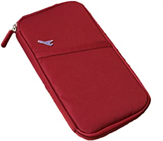 Jooks Travel Wallet Waterproof Nylon Journey Pocket Durable Travel Documents Wallet With Zippered Pockets Passport Holder And Credit Card Wallet (Red)