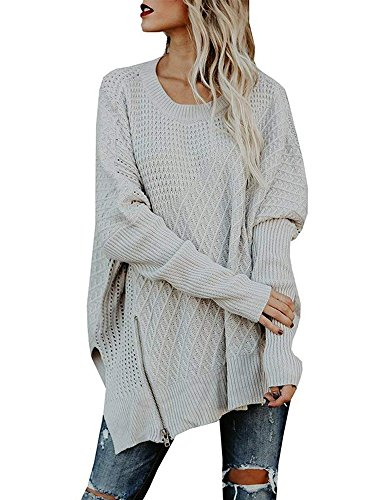- Chuanqi Womens Sweaters Oversized Batwing Pullover Sweater Loose Off The Shoulder Knit Jumper
