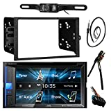 JVC KWV120BT 6.2' LCD Bluetooth CD DVD Car Stereo Receiver Bundle Combo W/ License Plate Mount Backup Camera + Dash Installation Kit For Most GM Vehicles + Enrock 22' AM/FM Radio Antenna With Adapter