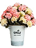 CL Artificial Fake Silk Rose Sunflower Gerbera With Iron Pot For Home Kitchen Garden Living Room Hotel Office Party Decorations Or As Festival Birthday Gift (Color 12)