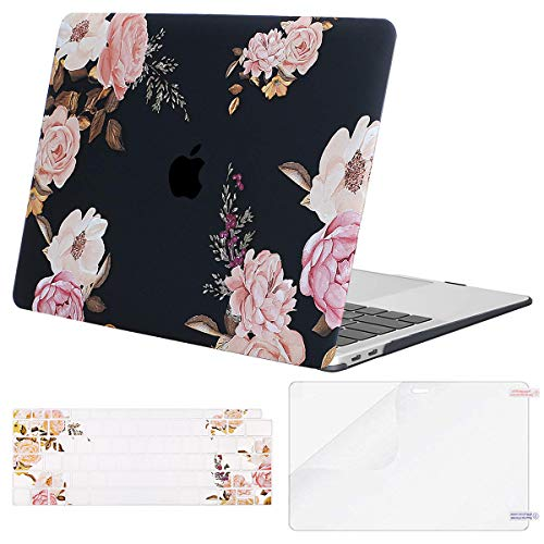 MOSISO MacBook Air 13 Inch Case 2019 2018 Release A1932 with Retina Display,Plastic Pattern Hard Shell & Keyboard Cover & Screen Protector Only Compatible Newly MacBook Air 13, Peony Blossom (Best Case For Macbook Air 2019)