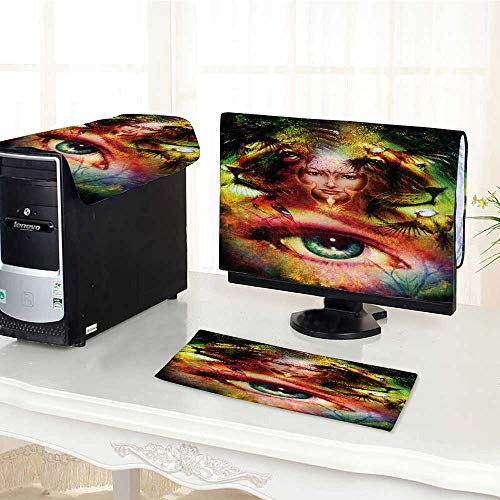 UHOO2018 dust Cover for Computer 3 Pieces Paint Mighty Lion Head and Mystic Woman face with Bird Suit Computer dust Cover /22