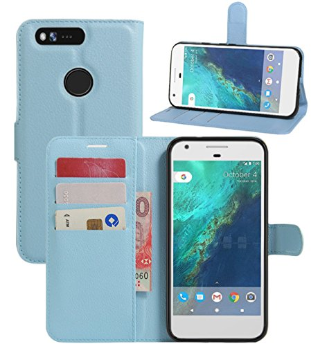 Google Pixel XL Case, Fettion Premium PU Leather Wallet Phone Protective Case Flip Cover with Stand Card Holder for Google Pixel XL 5.5 Inch 2016 Smartphone (Wallet - Blue)