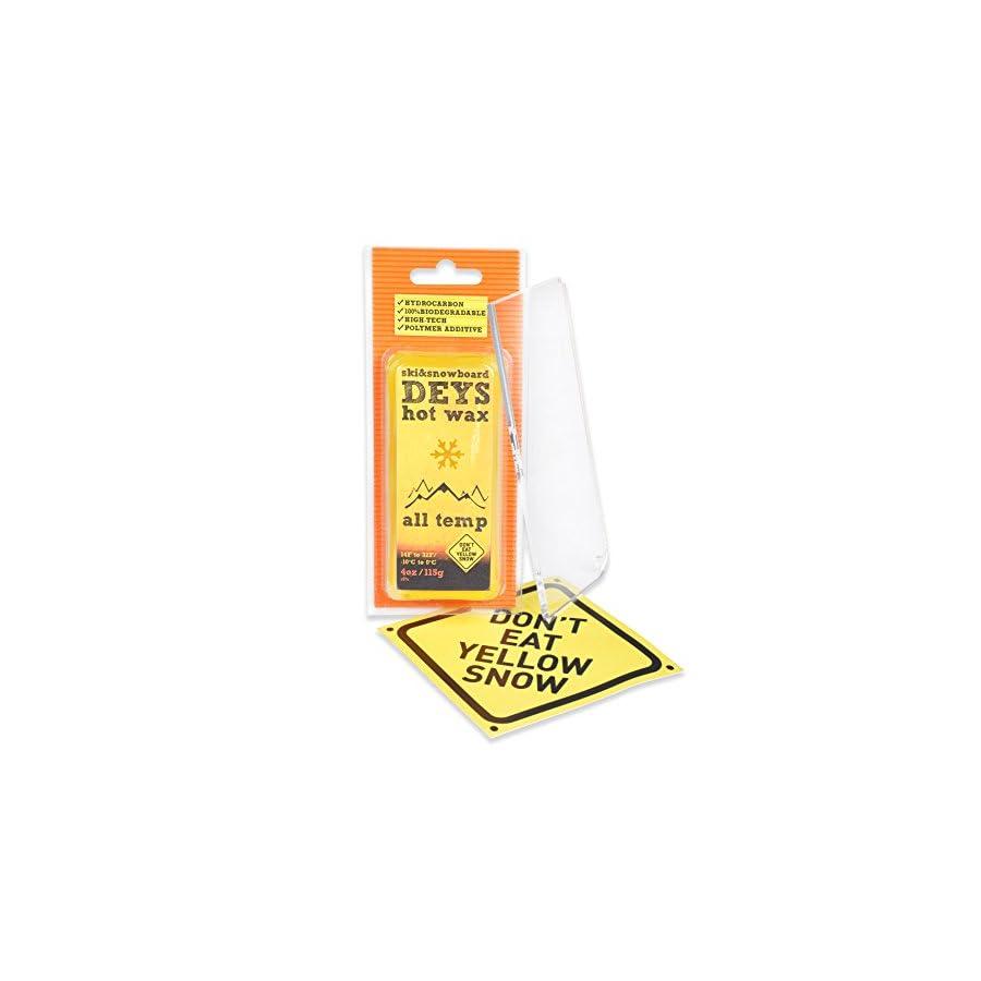 Don't Eat Yellow Snow Snowboard/Ski Wax from Deys Free Plexi Scraper. Gift Ready Combo