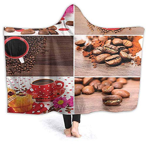 Sherpa Wearable Blanket Poncho for Adult Women Men Collage Mugs Polka Dots Flowers Muff Close Up Photography Brown Re Warm