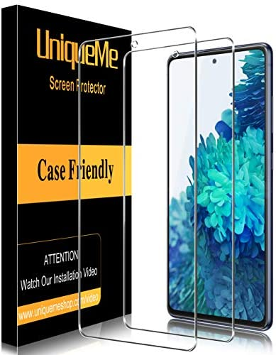 [2 PACK] UniqueMe Tempered Glass Screen Protector for Samsung Galaxy S20 lite/Samsung Galaxy S20 FE 5G, [Bubble Free] [Touch sensitive] 9H Hardness Anti-scratch HD Clear Film