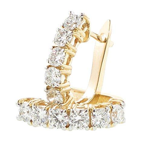 2.25 CT TW Large Diamond Hoop Earrings in 14K Yellow Gold