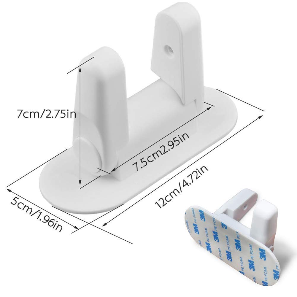 Door Lever Lock,2 Pack Child Proof Doors Handles by Mopoin,Child Safety Door Locks 3M Adhesive (White) by Mopoin (Image #2)