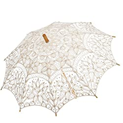 Remedios(19 colors) Wedding Embroidery Cotton Lace Sun Parasol Umbrella Ivory