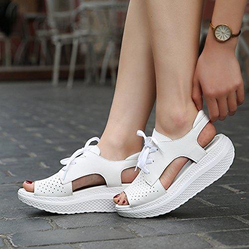 Cybling Sommer Lav Plattform Kile Sandaler For Kvinner Utendørs Trening Atle Peep Toe Walking Sko Hvit