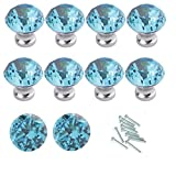 Images of Kitchen Cabinets HOSL 10PCS Lake Blue Diamond Shape Crystal Glass Cabinet Knob Cupboard Drawer Pull Handle/Great for Cupboard, Kitchen and Bathroom Cabinets, Shutters, etc (30MM)