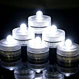 Advocator 24PCS Submersible Waterproof Wedding Centerpieces Underwater Mini Bright Tea Lights LED Not Flickering Flameless Candle with Battery Operated for Outdoor Camping - Cool white