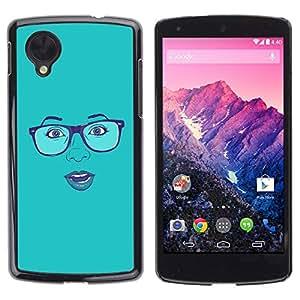 Carcasa Funda Prima Delgada SLIM Casa Case Bandera Cover Shell para LG Google Nexus 5 D820 D821 / Business Style Blue Woman's Face Sexy Glasses Lips