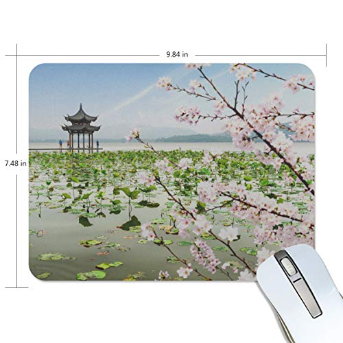 Fashion Retro Unique Custom Mousepad Hangzhou West Lake Attractions Tour Printing Non-Slip Rectangle Natural Rubber Fabric Mouse Mat Gaming Mouse Pad
