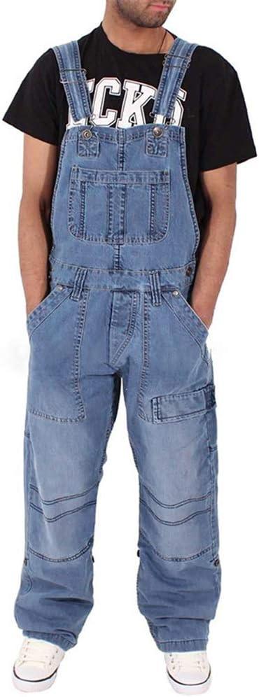 メンズデニムビブディストレストオーバーオールルーズジーンズワイドレッグヒップホップジャンプスーツ,Lightblue,XL
