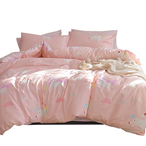ORoa Girls Bedding Sets Twin 3 Piece Cartoon Cloud Animal Twin Duvet Cover Set by usually means of  Pillowcases for Kids Toddler Adult 100% Cotton reversible stream-lined child Striped Teen Bedding Duvet Cover Pink