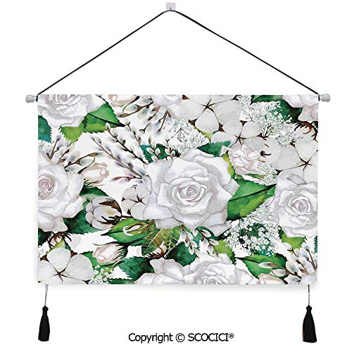 SCOCICI Durable Material Multipurpose W24xL17inch Wall Hanging Tapestry Watercolor Artsy Design of Roses Meaning New Beginning or Farewell Innocence Symbol Decorative Painting Living Room Painting ()