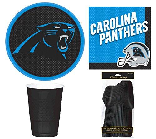 Designware NFL Carolina Panthers Plate, Napkin, Cup, Fork, Spoon, Knife Party Set for 8