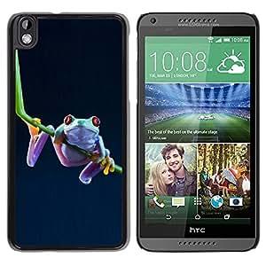 TopCaseStore / la caja del caucho duro de la cubierta de protección de la piel - Cool Funny Jungle Frog - HTC DESIRE 816