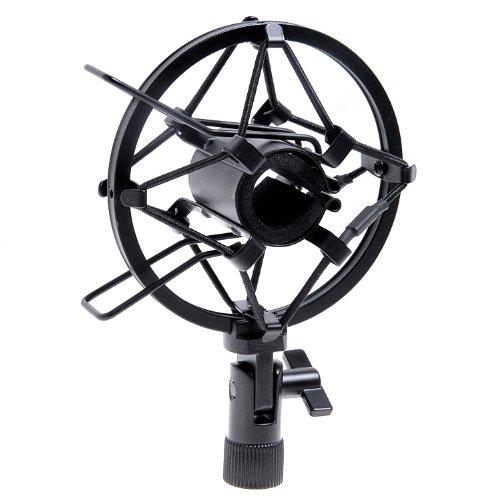 25mm Microphone Holder - Kmise A8175 1 Set Handheld Condenser Microphone Shock Mount Clip Dynamic Studio Holder, Black