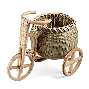 8.6 x 5.1 x 7.1 Rattan and Bamboo Handmade Basket Home or Kitchen Decor Pen Holder Store Box Ikebana Container Flower Arrangement Ikebana Holder for Home and Office Desk Table Decor key point