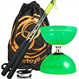 Juggle Dream Cyclone Quartz (Grn) 2 Triple Bearing Diabolo, Metal Diablo Sticks, 10m String & Firetoys Travel Bag