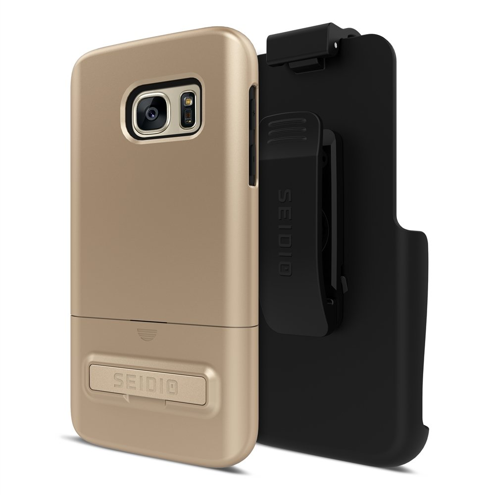 Seidio Surface with Metal Kickstand Case & Holster Combo for Samsung Galaxy S7 - Non-Retail Packaging - Gold/Black