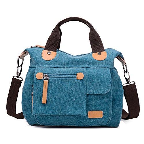 Wewod bolsa de mensajero mujer/bolso bandolera deporte/bolso al hombro para hombre/bolso de viaje de mano de Multifuncional 28 x 26 x 16 cm (L*H*W) Azul
